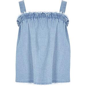 Jeans-Camisole mit Raffung