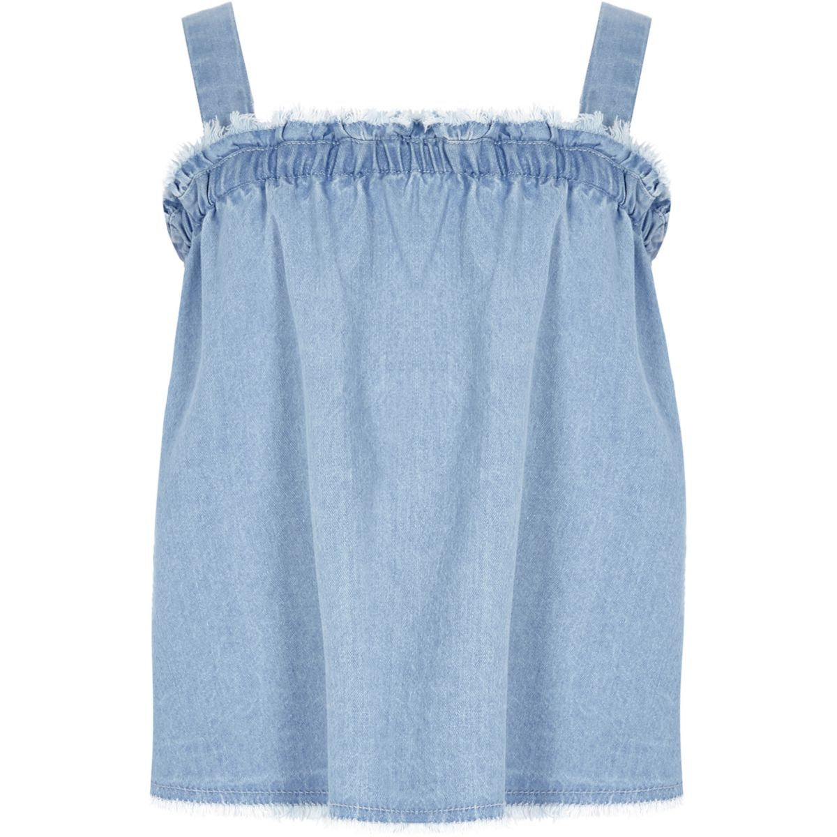 Girls denim shirred neck cami top
