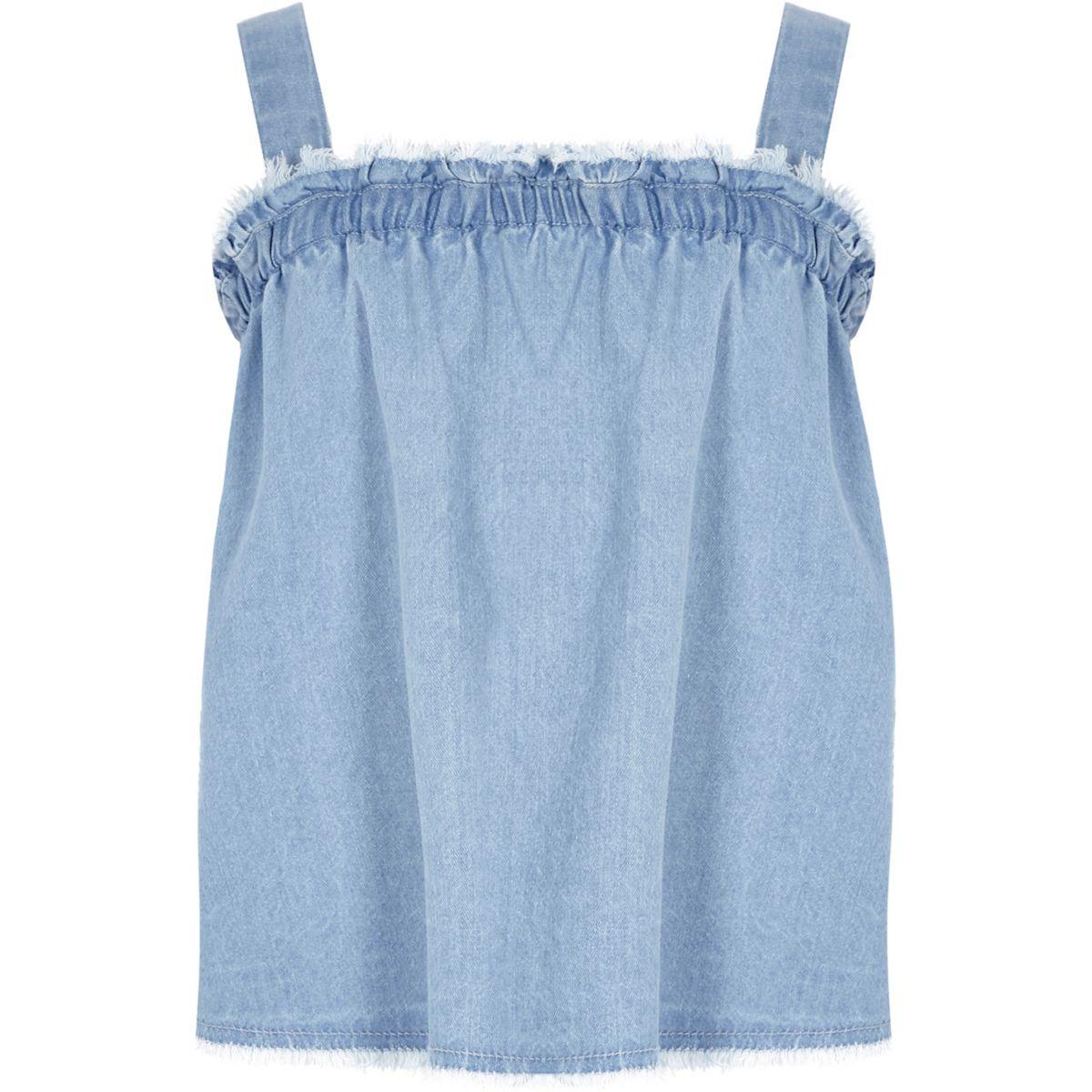Girls denim shirred neck cami top