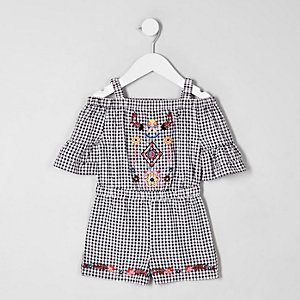Mini girls black gingham embroidered playsuit