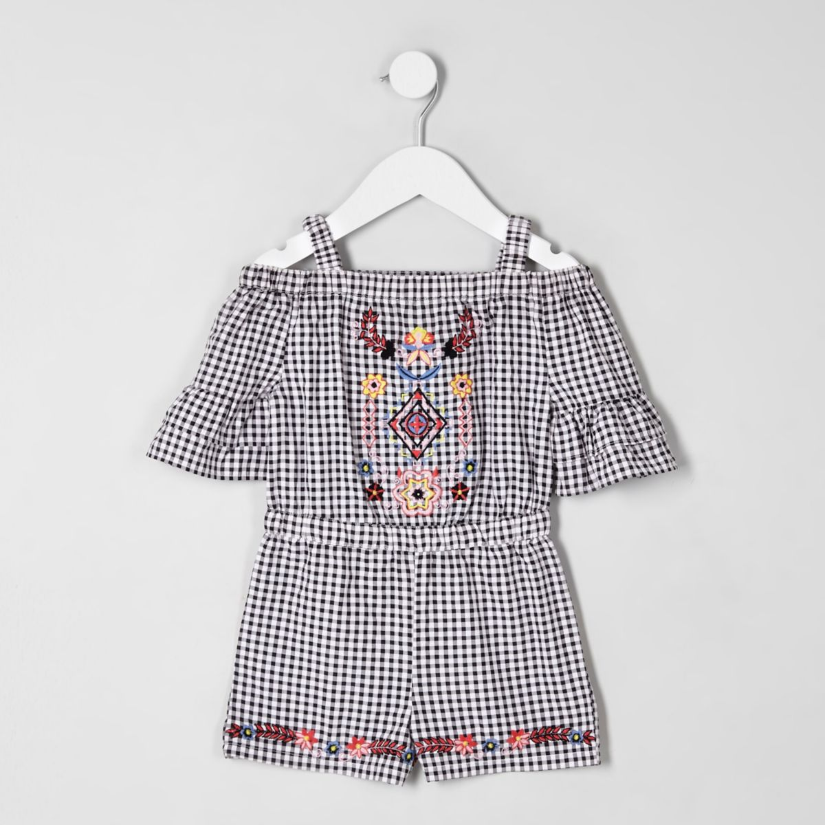 Mini girls black gingham embroidered romper