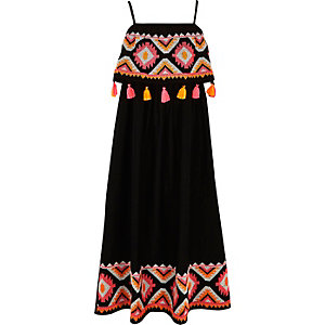 Girls black embroidered tassel maxi dress