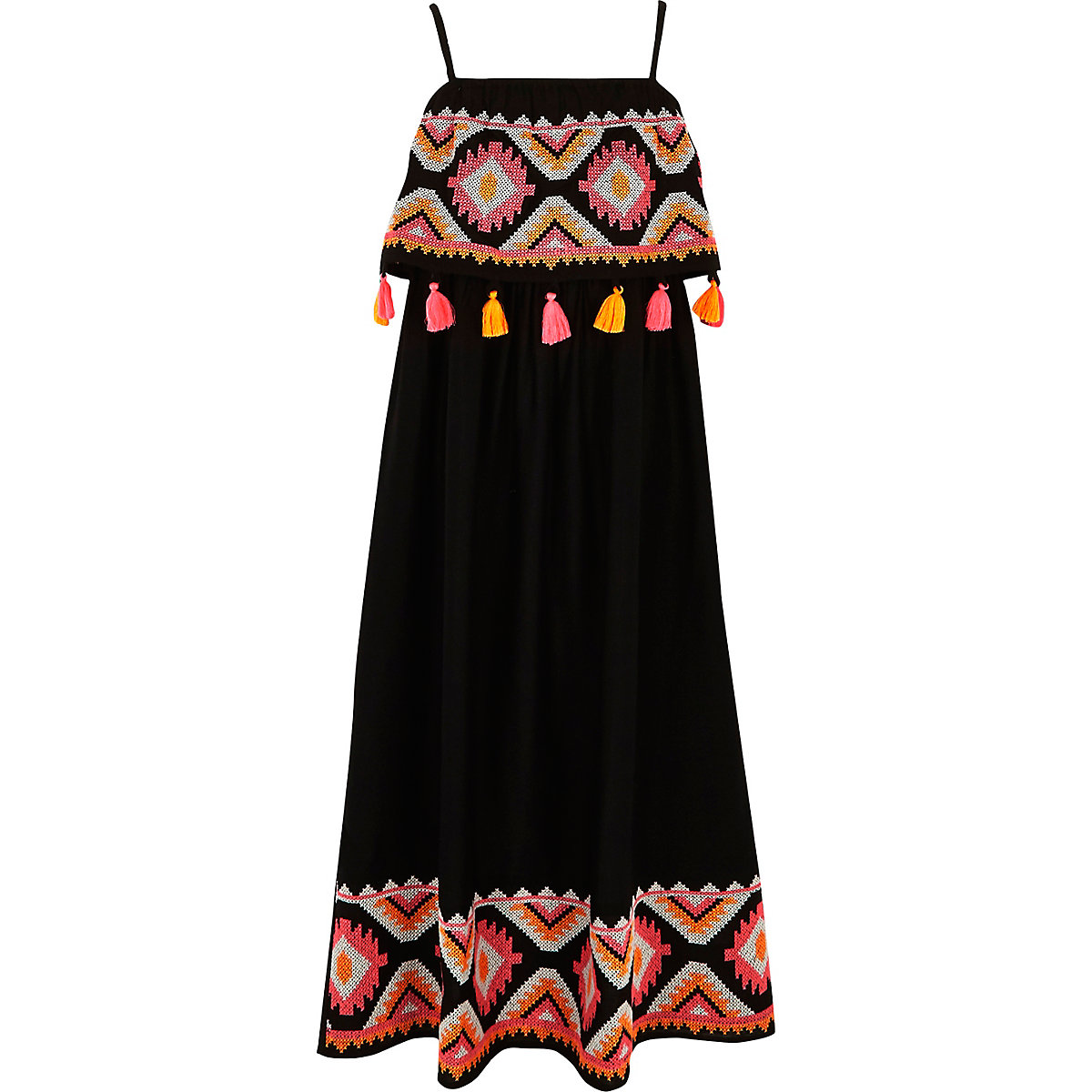 Girls black embroidered tassel maxi dress