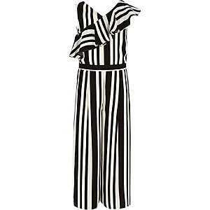 Girls black stripe frill culotte jumpsuit