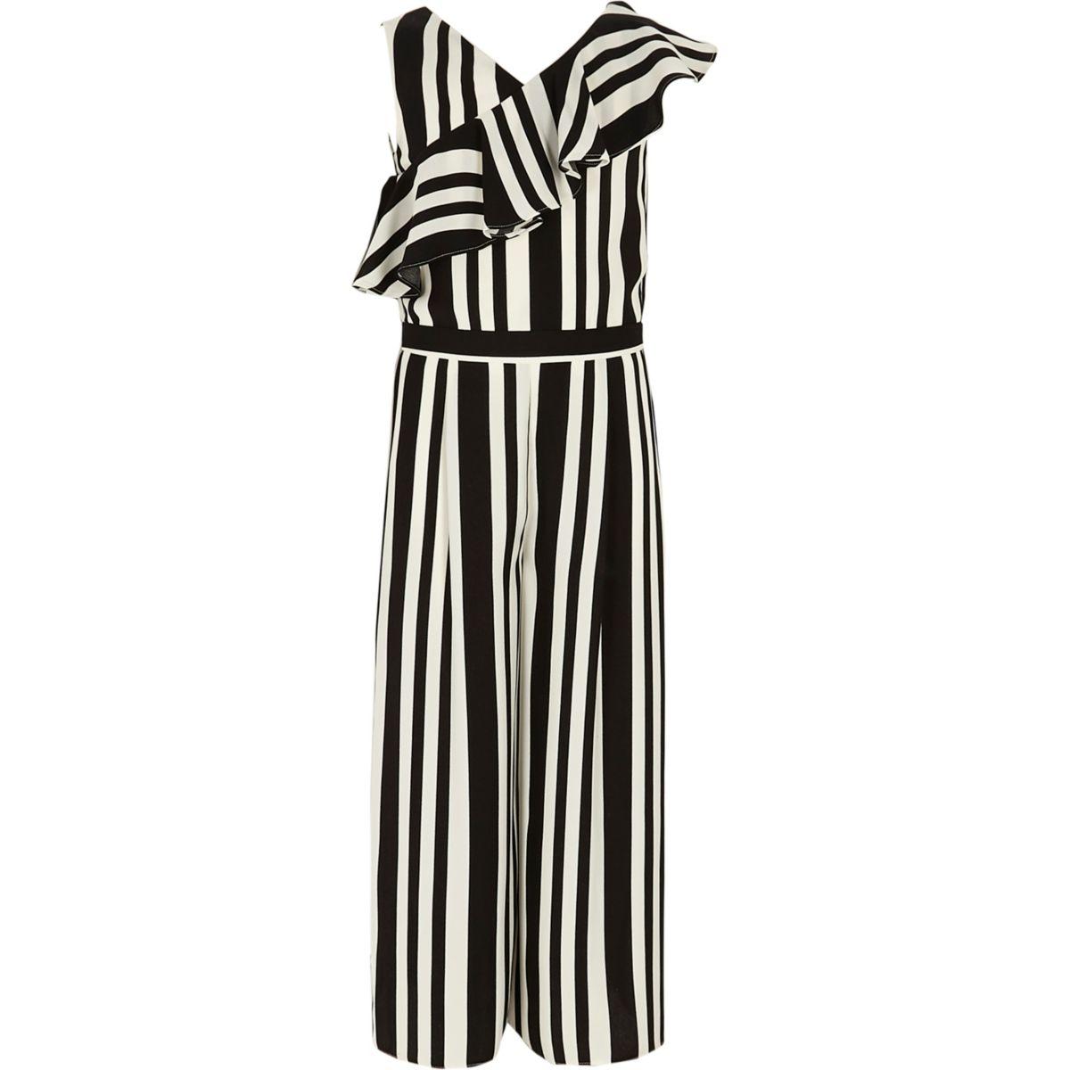 Girls black stripe frill culotte jumpsuit