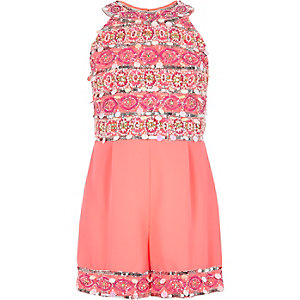 Girls pink embellished high neck playsuit