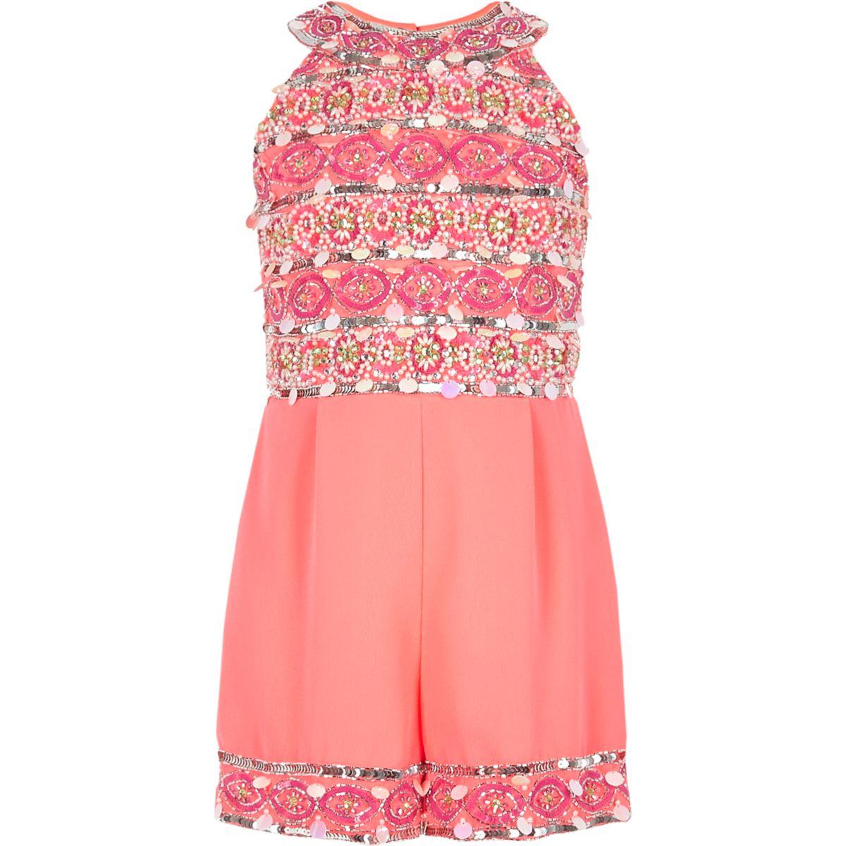 Girls pink embellished high neck romper
