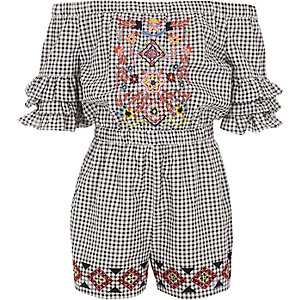 Girls black gingham embroidered romper