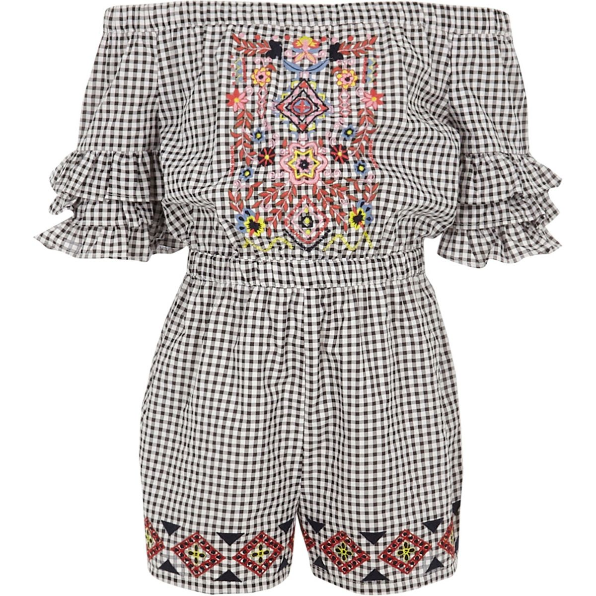 Girls black gingham embroidered playsuit