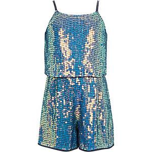 Girls blue sequin embellished playsuit