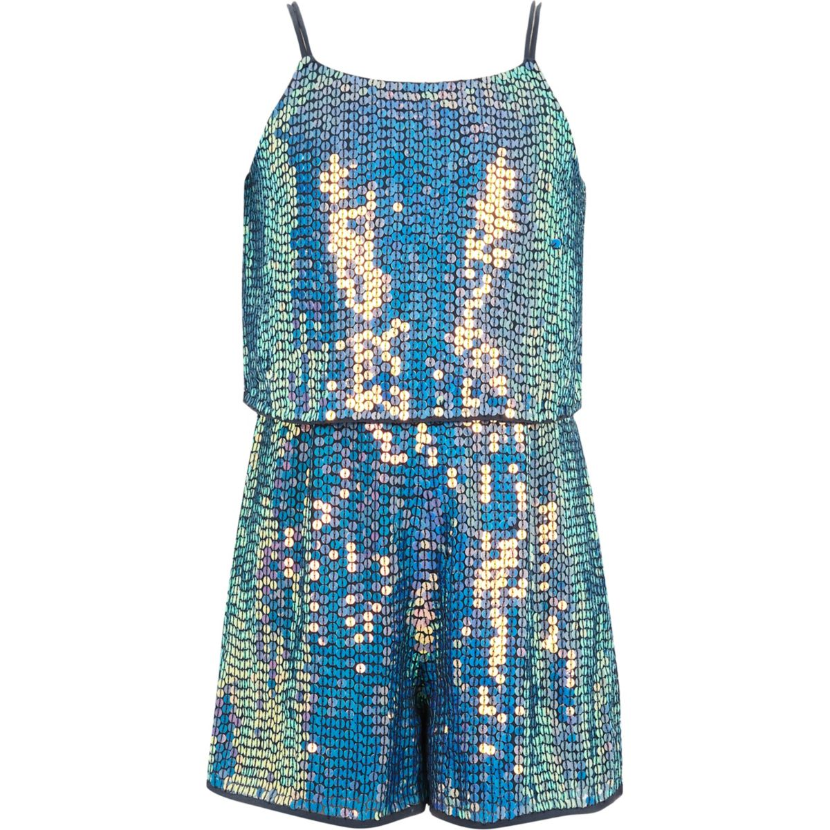 Girls blue sequin embellished playsuit