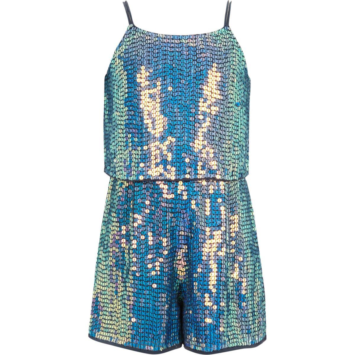Combi-short bleu orné de sequins pour fille