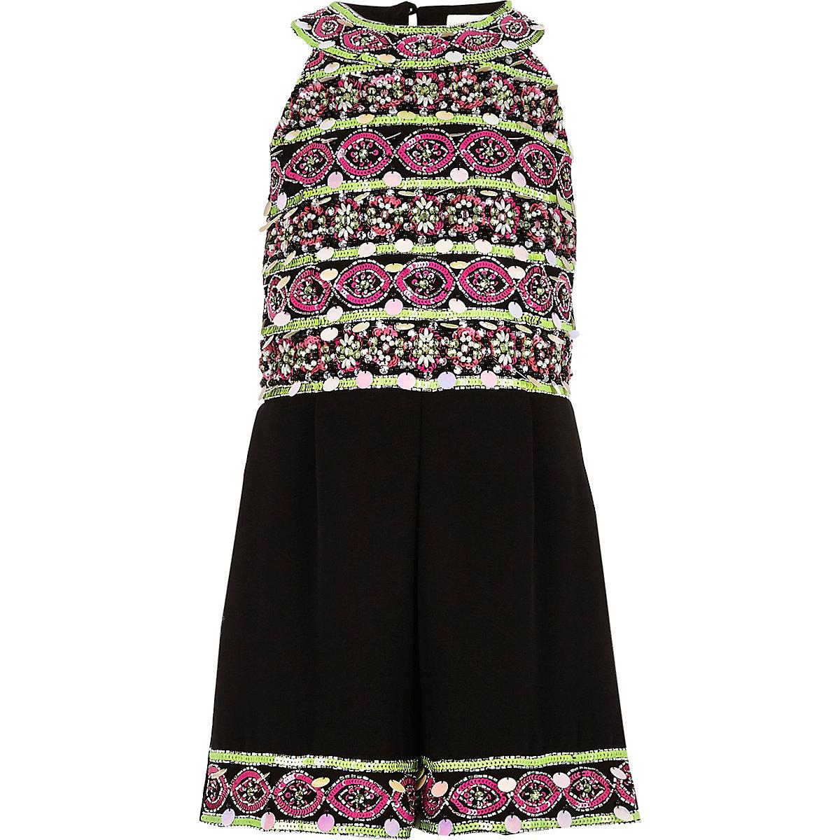 Girls black embellished high neck playsuit