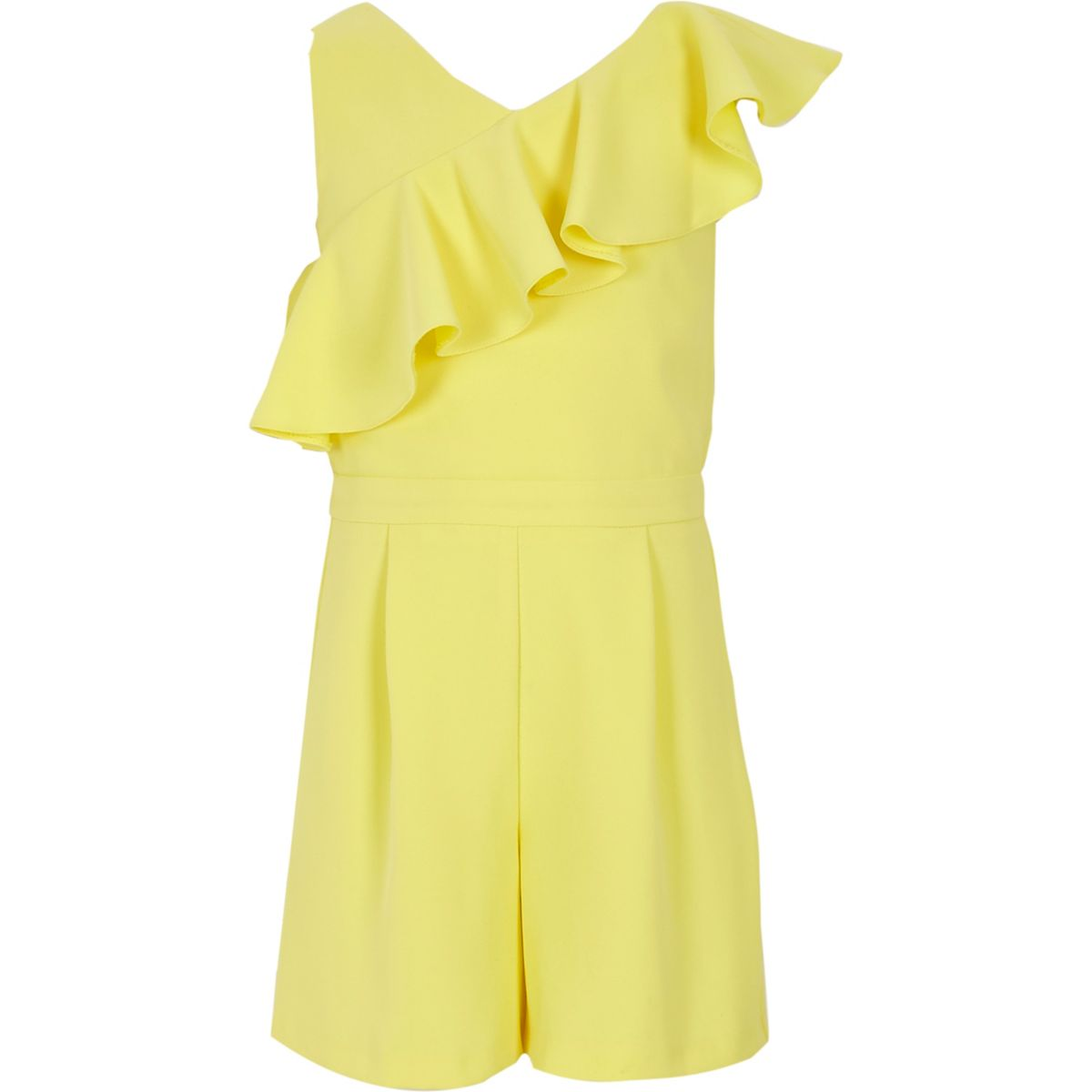 Girls yellow asymmetric frill playsuit