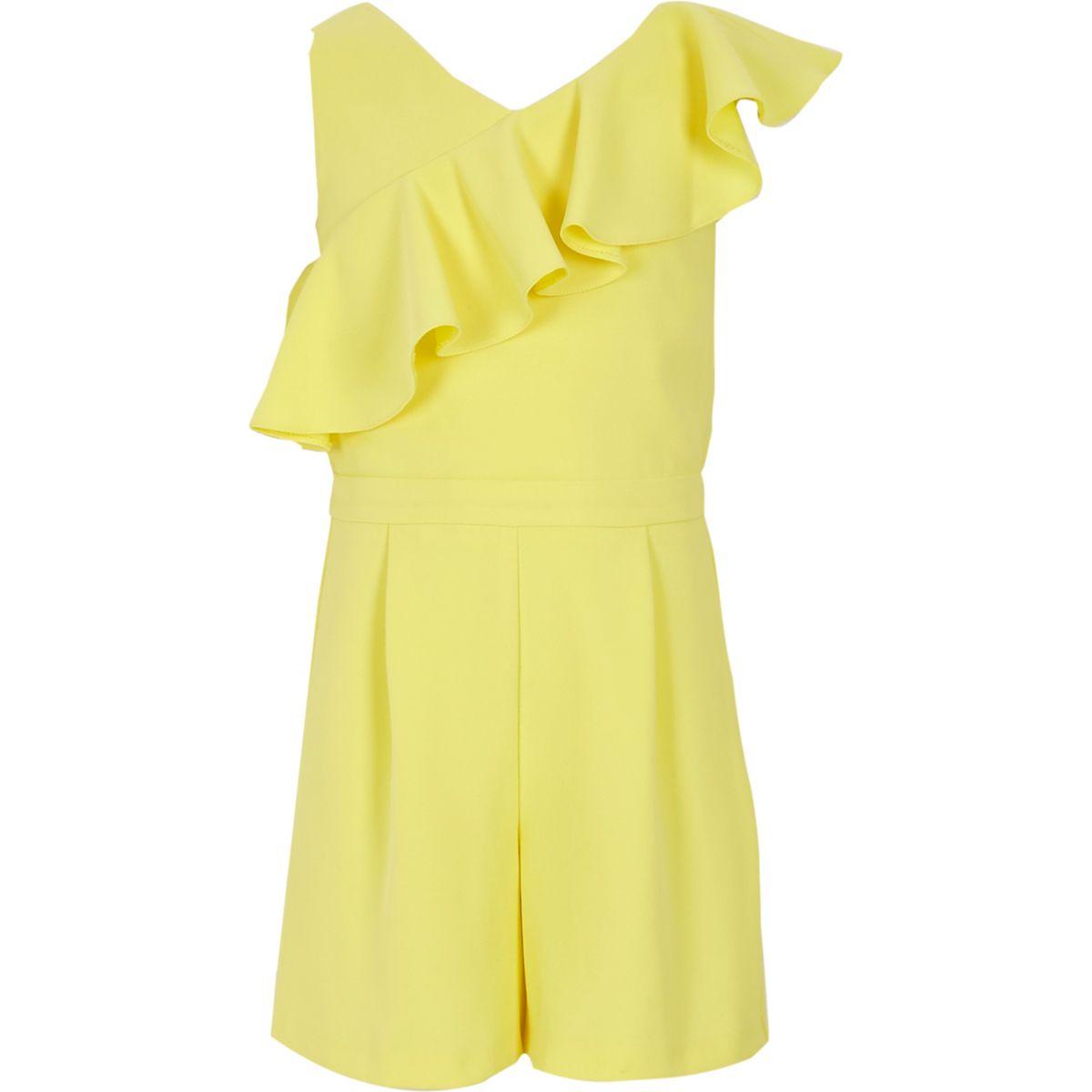 Girls yellow asymmetric frill romper