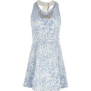 Girls blue necklace twist back skater dress