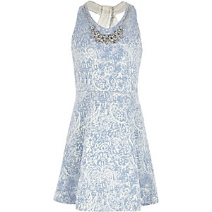 Girls blue necklace twist back skater dress