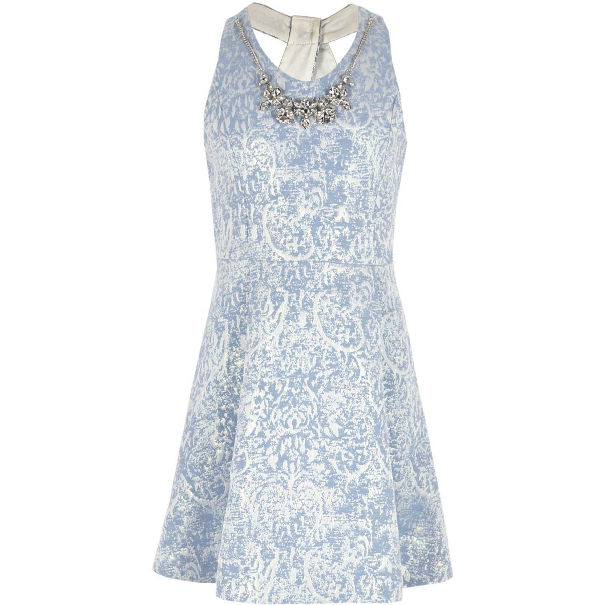 Blaues Skater-Kleid