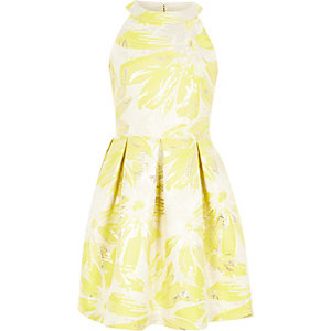 Girls yellow floral jacquard prom dress