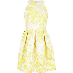 Gele gebloemde jacquard avondjurk voor meisjes