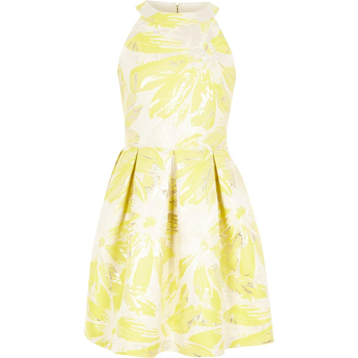 Girls yellow floral jacquard prom dress