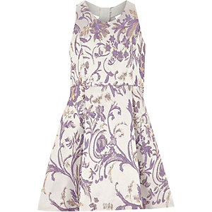 Girls jacquard lilac prom dress
