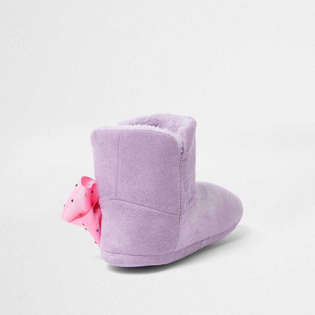 f9d788c2610e2 JoJo Bows – Chaussons bottes violets pour fille - Chaussons ...