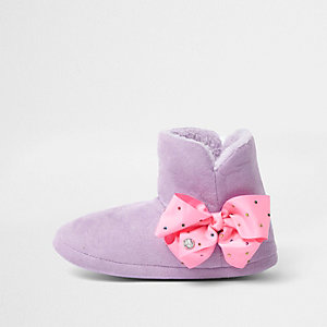 Girls purple JoJo Bows boot slippers