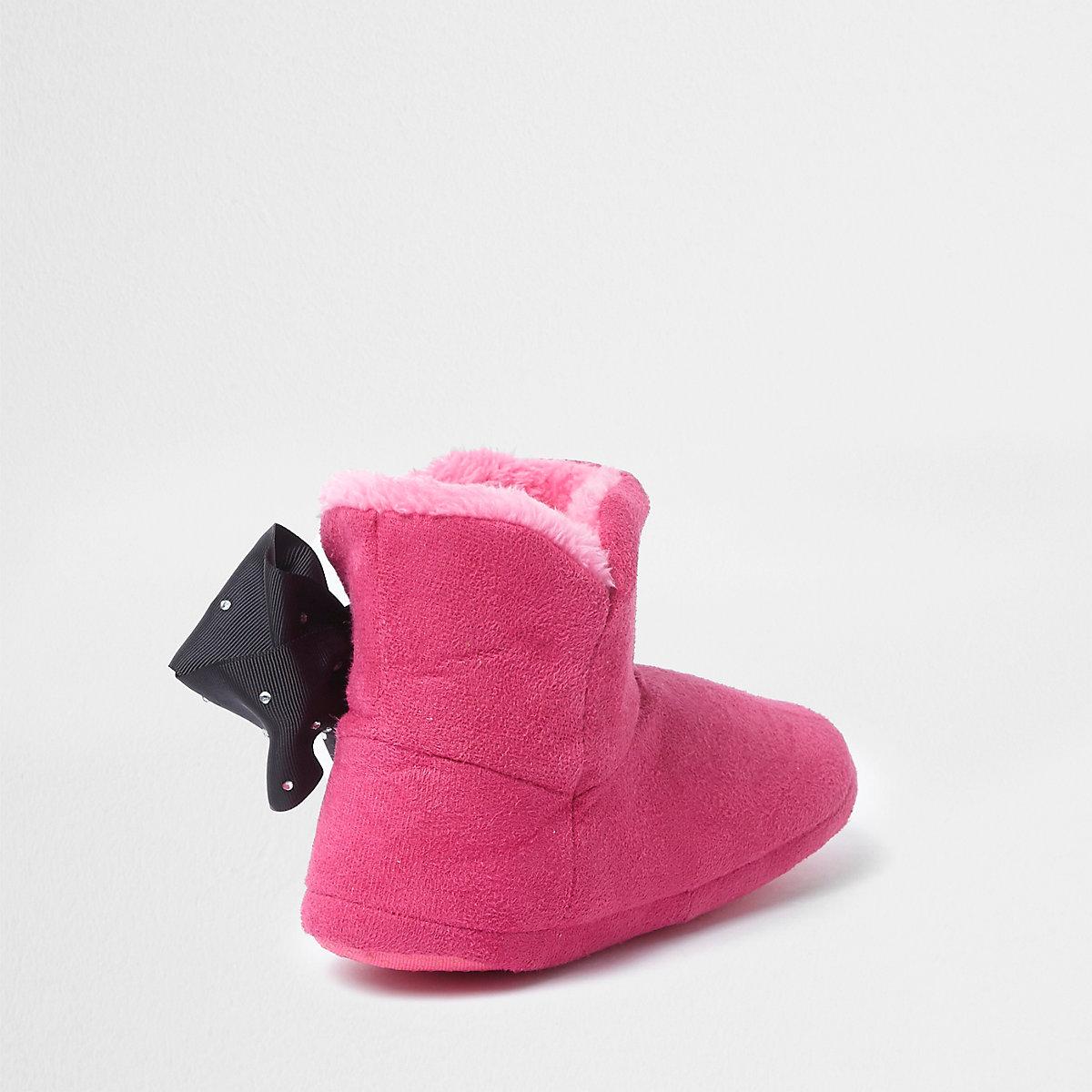 5323dd77d7c53 JoJo Bows – Chaussons bottes roses pour fille - Chaussons ...