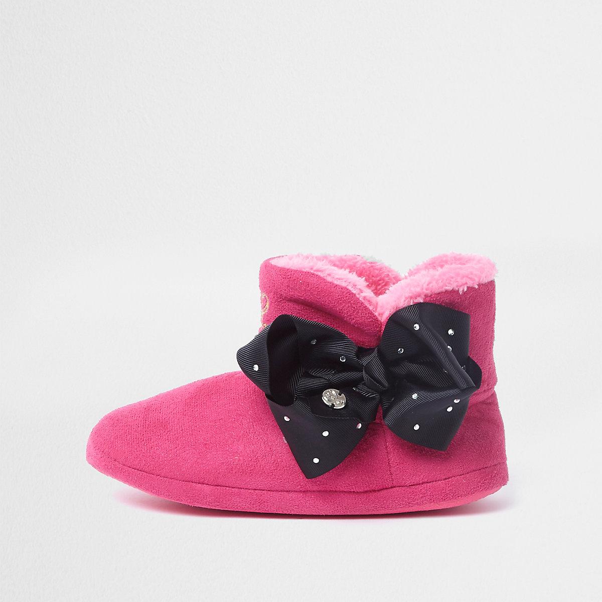 Girls pink JoJo Bows boot slippers