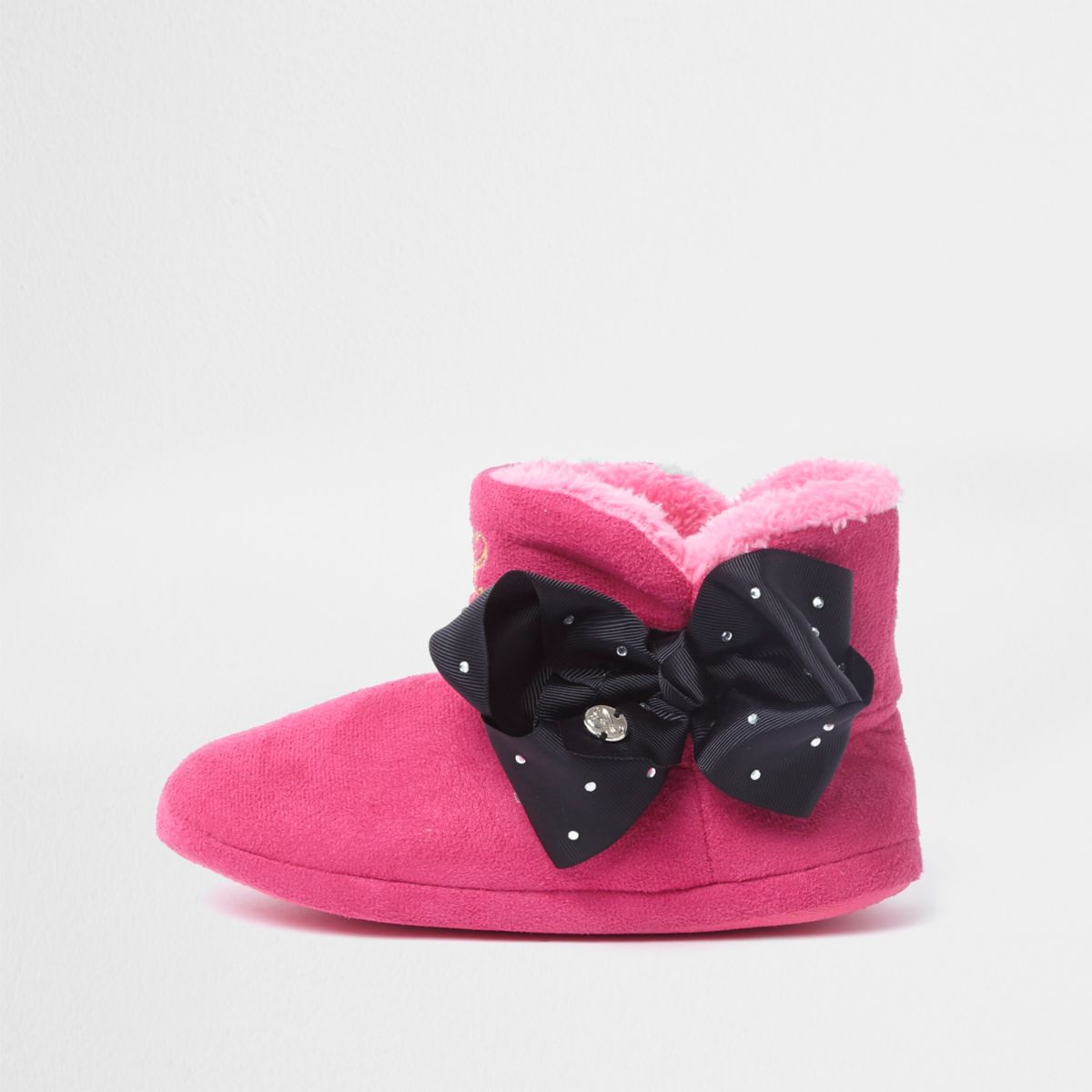 Girls pink JoJo Bows boot slippers
