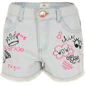 Girls blue pink print denim boyfriend shorts