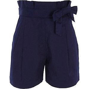 Blauwe short met strik voor en geplooide taille voor meisjes