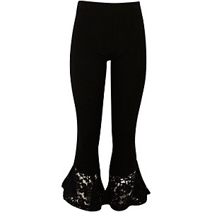 Girls black lace flare hem leggings