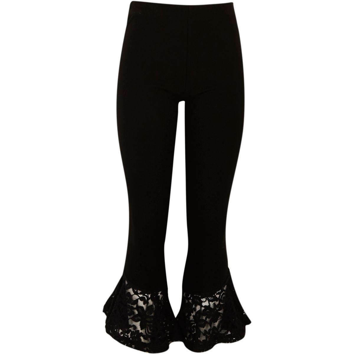 Girls black lace flare hem leggings