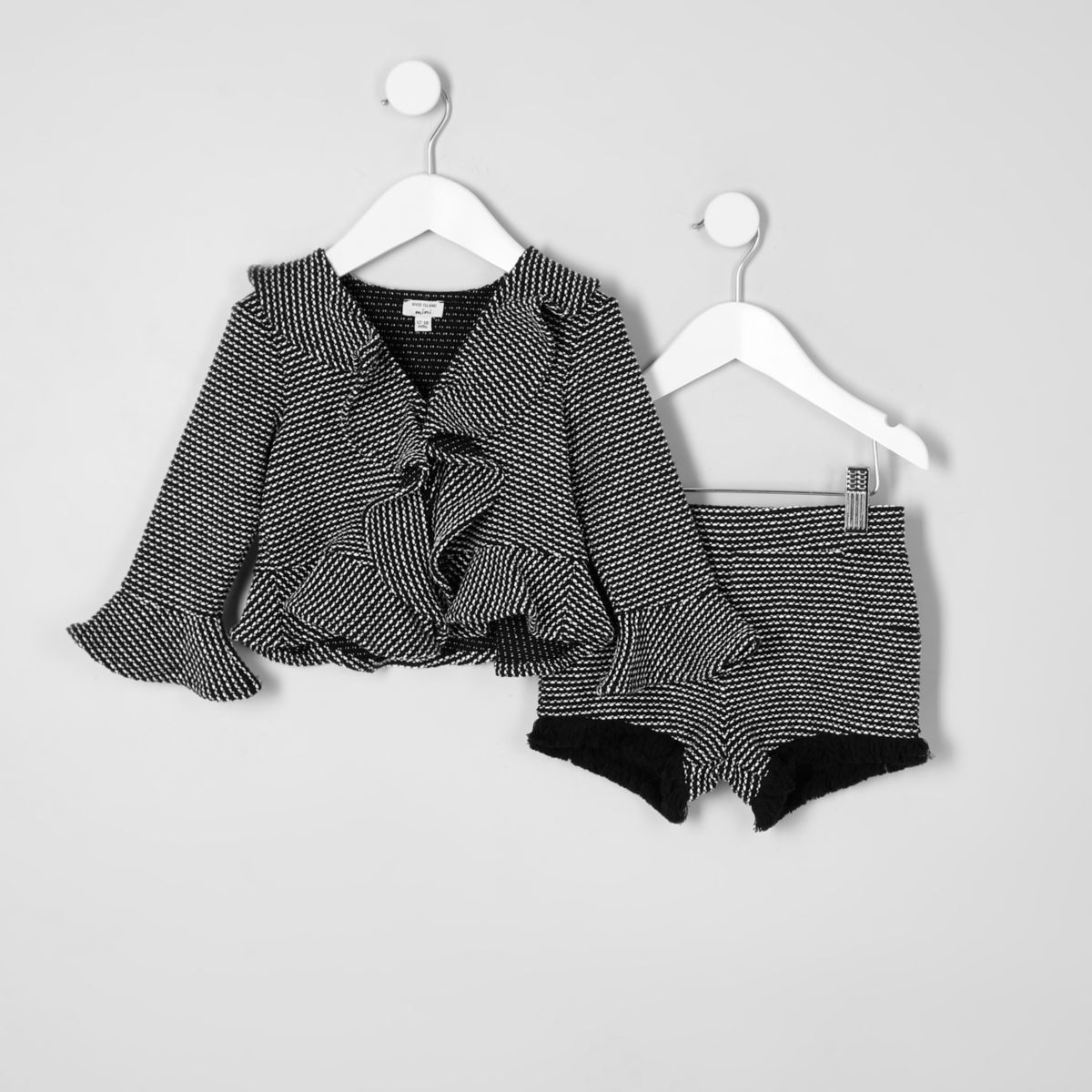 Mini girls black frill jacquard jacket outfit