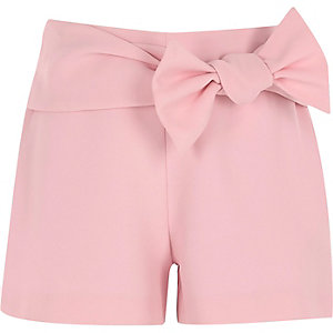 Girls pink bow detail shorts