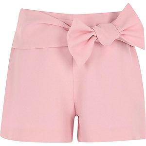 Roze short met strikdetail voor meisjes