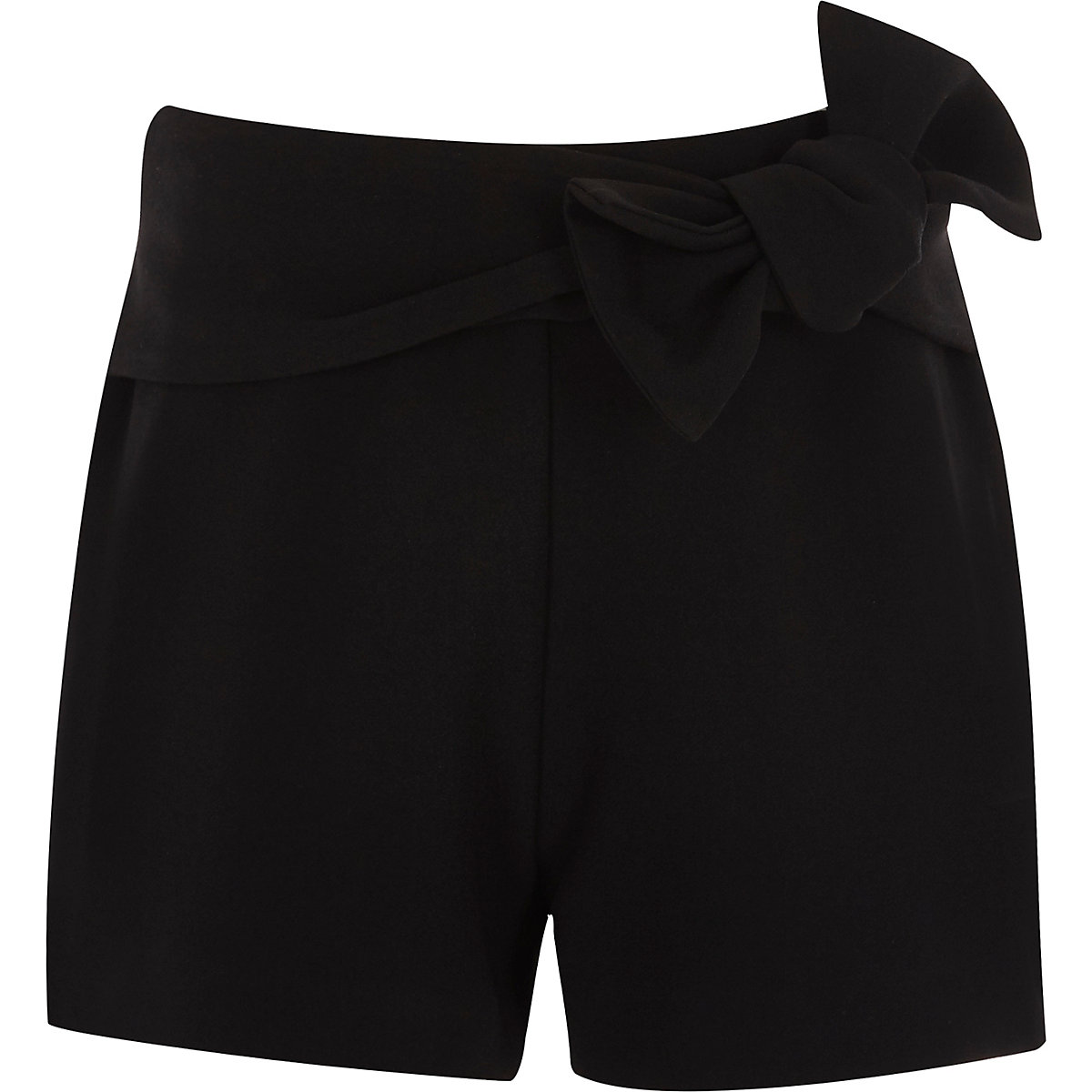 Girls black bow detail shorts
