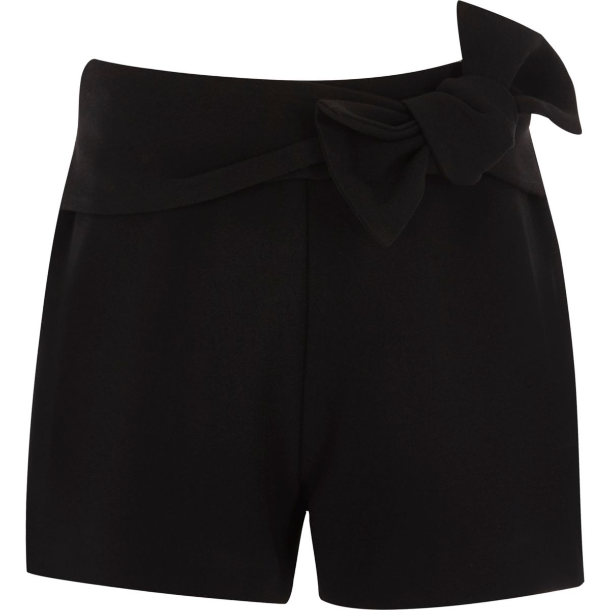 Girls black bow detail shorts