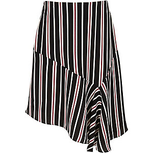 Girls black stripe print asymmetric skirt
