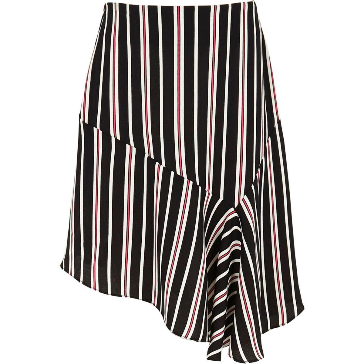 Girls black stripe print asymmetric skirt