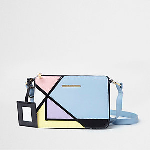 Blauwe crossbodytas met kleurvlakken voor meisjes