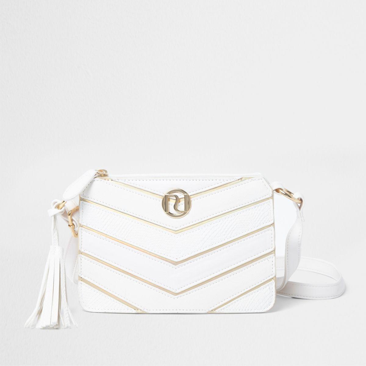 Girls white chevron panel cross body bag