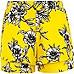 Girls yellow daisy print double layer shorts