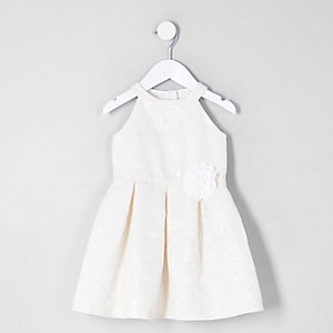 Mini girls cream corsage flower prom dress