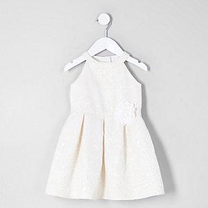 Robe de gala à fleurs crème mini fille