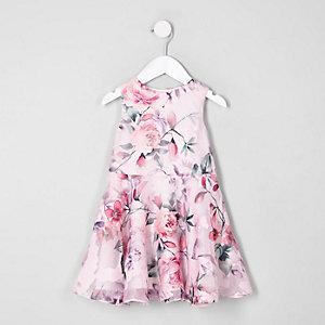 Robe de gala à fleurs rose pour mini fille