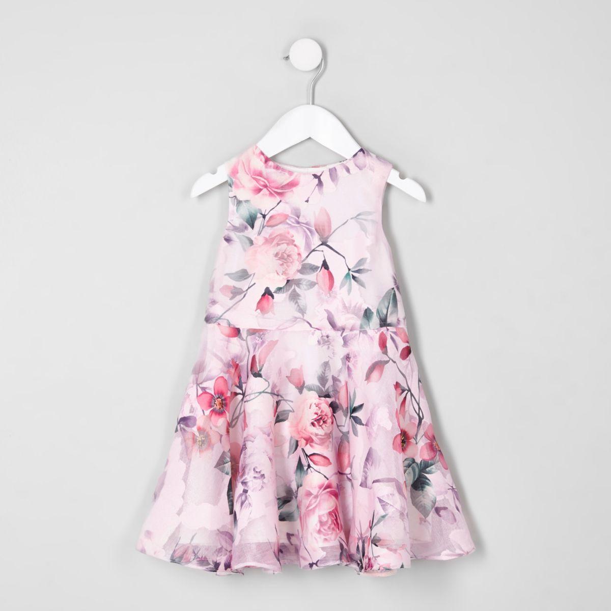 Mini girls pink floral prom dress