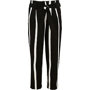 Girls black stripe tie waist tapered pants